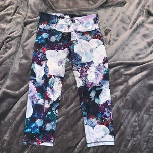 Floral Print Activewear Cropped Leggings